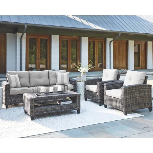 Ashley Furniture - ASHLEY P334-081 4-Pc Cloverbrooke Outdoor Patio Conversation Set