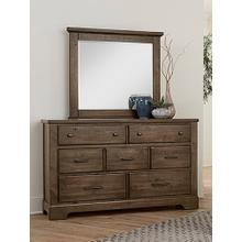 Cool Rustic Collection -  7 Drawer Dresser W/ Mirror - Mink