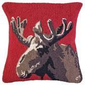 "VELVET MOOSE ON RED 18"" HOOKED WOOL PILLOW"