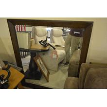 View Product - Dark stained wood framed wall mirror 44x39in.
