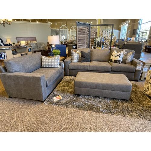 Native By Mayo - Buck Skin Leather Sofa and Matching Chair and a Half with Ottoman