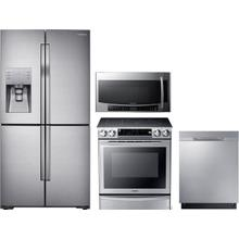 Samsung  4 Piece Kitchen Appliances Package with French Door Refrigerator, Electric Range, Dishwasher and Over the Range Microwave in Stainless Steel