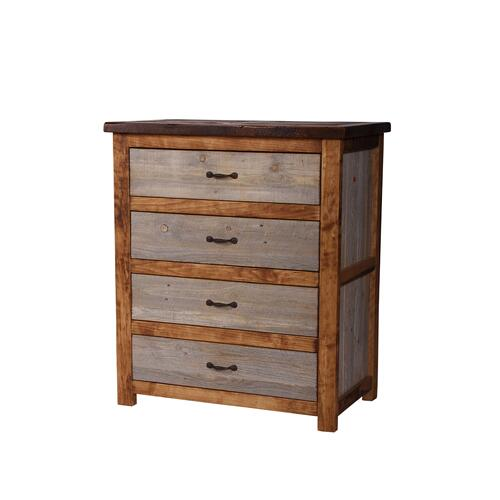 Natural Barn Wood 4 Drawer Chest