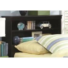 Jacob Collection Full/Queen Bookcase Headboard in Stipple Black Finish