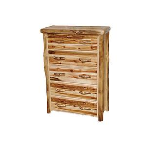 5 Drawer Chest Flat Front Wild Panel Natural Log