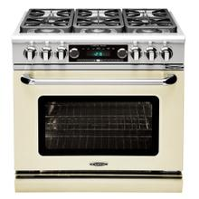 """See Details - Connoisseurian 36"""" Dual Fuel Self Clean Range (Oyster White)"""