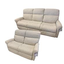 Flexsteel Davis 2 Piece Set:  Power Reclining Sofa and Loveseat w/ Power Headrest