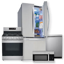 See Details - 22 cu. ft. French Door Refrigerator & 5.8 cu ft. Smart Wi-Fi Enabled Fan Convection Gas Range Package