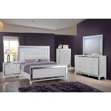 Valentino (White) - Full Bed - Dresser - 1 Nightstand - Vanity - Full Box Spring