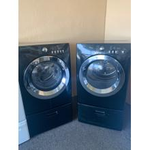 Refurbished Black Frigidaire Front Load Washer Dryer Set on pedestals. Please call store if you would like additional pictures. This set carries our 6 month warranty, MANUFACTURER WARRANTY AND REBATES ARE NOT VALID (Sold only as a set)