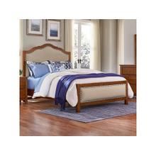 Queen Amish Cherry Upholstered Bed