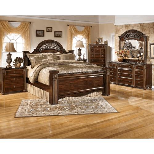 Gabriela- Dark Reddish Brown- Dresser, Mirror, Chest, Nightstand & Queen Poster Bed