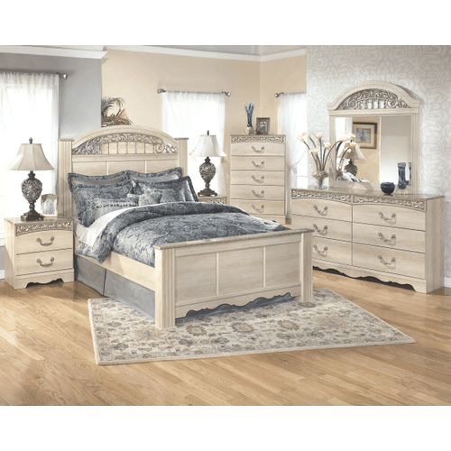 Catalina- Antique White- 6 Pc.- Dresser, Mirror, Nightstand and Queen Poster Bed