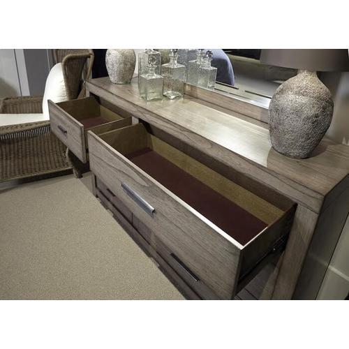 Aspen Furniture - Queen Platform Bed Bedroom Set - Headboard, Footboard, Rails, Dresser, Mirror