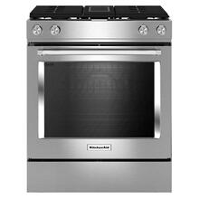 Kitchenaid 6.4CF Dual Fuel Downdraft Stainless Steel Slide In Convection Range with AquaLift Self Clean