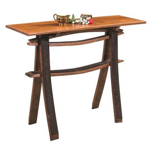 Amish Furniture - Amish Barrel Detail Sofa Table