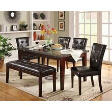 Decatur Marble 5pc Dining Room Set Plus Bench