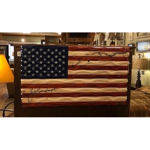 Home Accents - Hand-carved, fractal-burned American flag.