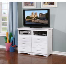 Discovery World Furniture White 6 Drawer Entertainment Dresser