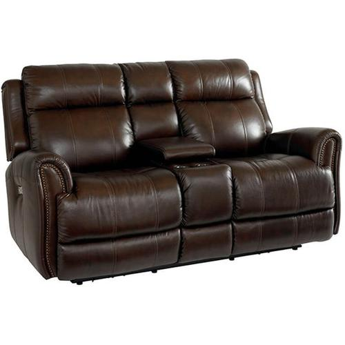 Marquee Motion Loveseat w/ Power and Console in Chocolate