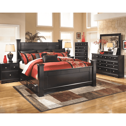 Shay- Almost Black- Dresser, Mirror, Chest, Nighstand & King Poster Bed with 2 Storage Drawers