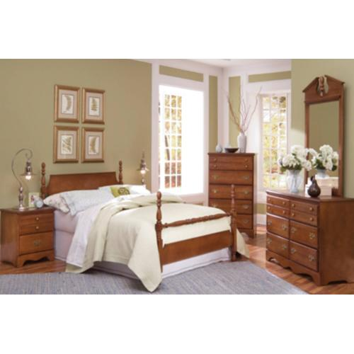 Common Sense Collection by Carolina includes Queen Headboard, Dresser, Mirror, 4 Drawer chest and a queen bed frame. Footboard not included.