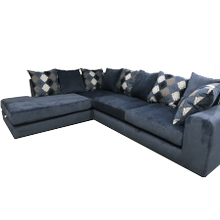 Blue 2 Piece Sectional with Pillows