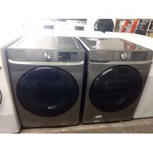Refurbished  2020 Silver STEAM Samsung Front Load Washer Dryer Set  Please call store if you would like additional pictures. This set carries our 6 month warranty, MANUFACTURER WARRANTY AND REBATES ARE NOT VALID (Sold only as a set)