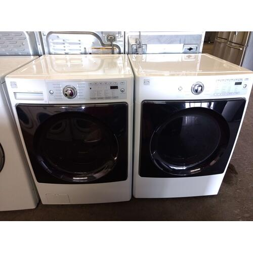 Refurbished STEAM Kenmore Elite White Front Load Washer Dryer Set. Please call store if you would like additional pictures. This set carries our 6 month warranty, MANUFACTURER WARRANTY AND REBATES ARE NOT VALID (Sold only as a set)