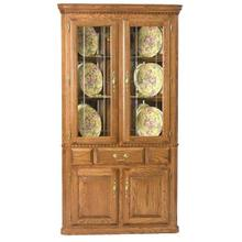 Corner Hutch w/ 2 Full Doors V-Groove Glass, Light, Full Mirror Backs, Felt Lined Drawers