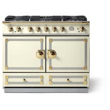 "La Cornue 43"" CornuFe 110 Ivory with Stainless Steel & Polished Brass Dual Fuel Range"