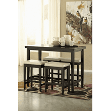 Kimonte - Dark Brown - 5 Pc. - Rectangular Counter Table & 4 Ivory Barstools