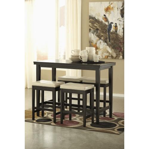 Kimonte - Dark Brown - 5 Pc. - Rectangular Counter Table & 4 Ivory Barstools