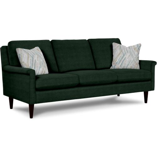 Best Home Furnishings - DACEY Stationary Sofa in Smoke Fabric with Two Sea Pillows and Espresso Finish Legs