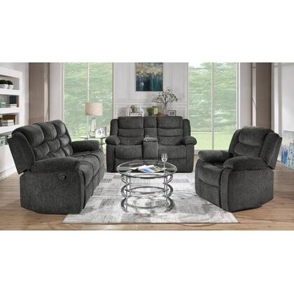 Reclining Sofa & Loveseat Set, Charcoal Fabric