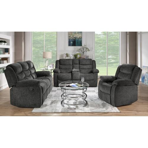 Reclining Sofa & Loveseat Set, Charcoal Fabric