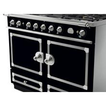 CornuFe 110 Dual Fuel Range -  Gloss Black with Stainless Steel and Satin Chrome Trim