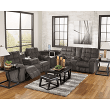 Acieona - Slate - Reclining Sofa with Drop Down Table, Wedge & Double Reclining Loveseat with Console Sectional