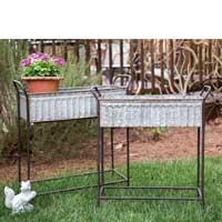 See Details - Set of 2 corrugated flower boxes with stand