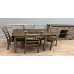 Gallery - Solid Wood Table w/Light Grey Finish & Rustic Brown Top