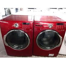 Refurbished  Red STEAM Samsung Front Load Washer Dryer Set  Please call store if you would like additional pictures. This set carries our 6 month warranty, MANUFACTURER WARRANTY AND REBATES ARE NOT VALID (Sold only as a set)