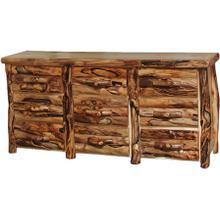 9 Drawer Dresser Log Front Natural Panel Gnarly Log