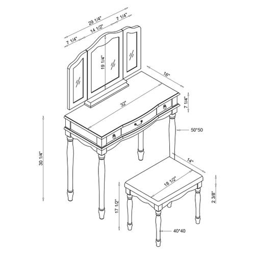 Powell Company - 17Y8208V Lacey Vanity w/ Bench
