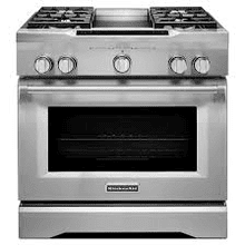 MOD # KDRS463VSS-DS S/N 5597 NEW OUT OF BOX 36'' 4-Burner with Griddle, Dual Fuel Freestanding Range, Commercial-Style