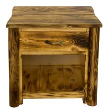 See Details - WCB728 Burnt Cabin Size 1-Drawer Nightstand with Antlers