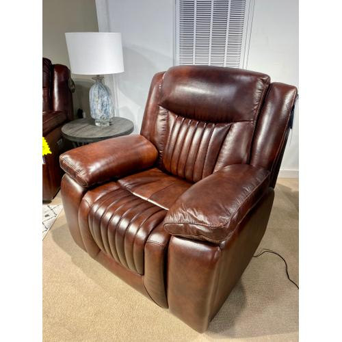 Vintage Mockernut Full Power Leather Recliner