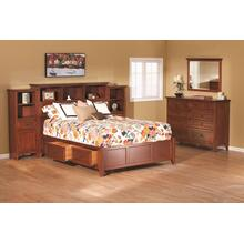 GAC McKenzie Full Bookcase Storage Bed Cherry Finish