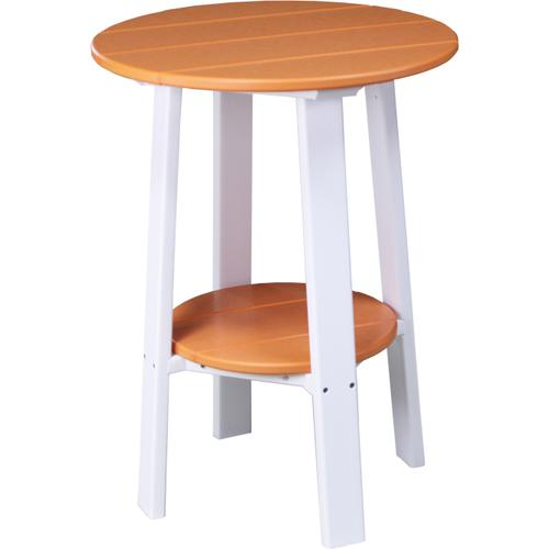 """Deluxe End Table 28"""" Tangerine and White"""