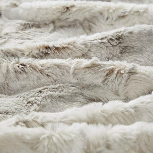 Sachi Oversized Natural Faux Fur Throw