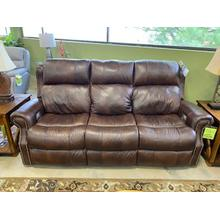 Leather Reclining Sofa with Adjustable Headrest